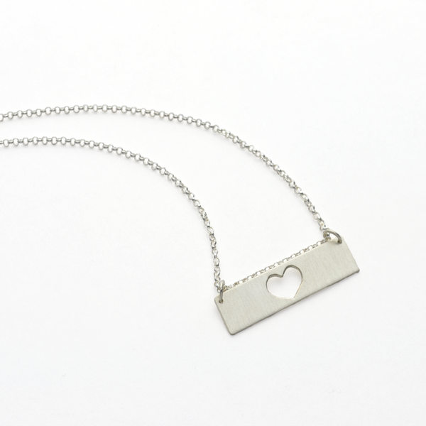 Heart of a Mother Sterling Silver Mother's Bar Necklace-Tracy Hibsman Studio