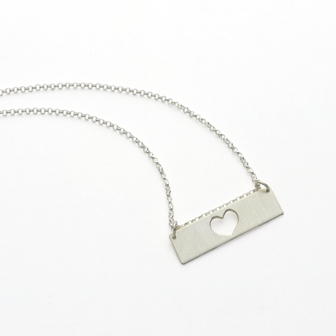 Heart of a Mother Sterling Silver Mother's Bar Necklace