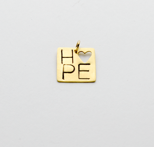 Square Hope Heart Pendant or Charm in NuGold
