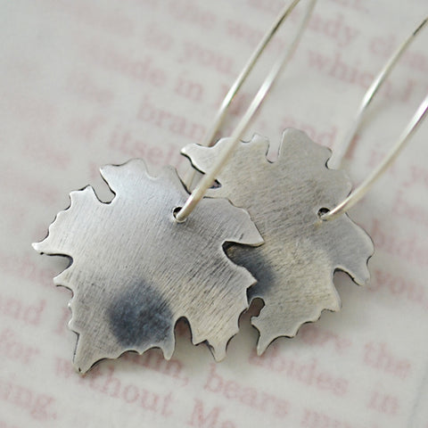 I Am The Vine Sterling Silver Grape Leaf Earrings