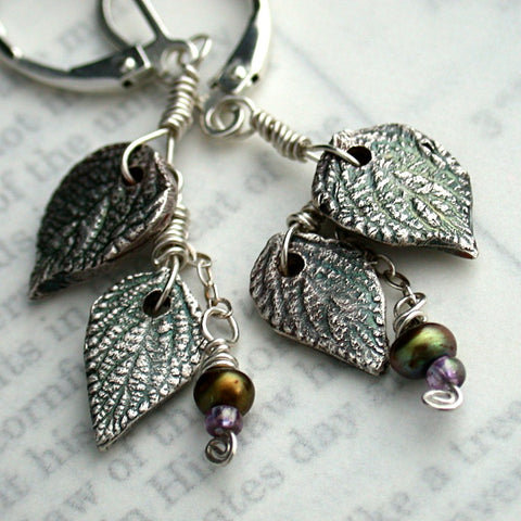 Creation Silver Leaf Dangle Earrings