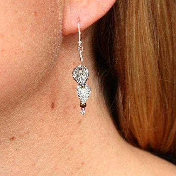 Creation Silver Leaf Dangle Earrings-Tracy Hibsman Studio