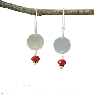 Ardor Sterling Silver Disc Earrings with Red Quartz