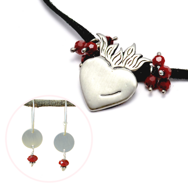 Valentine's Day Deal – Silver Ardor Sacred Heart Necklace & Earrings