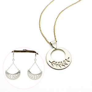 Valentine's Day Deal – Silver Peace Olive Branch Necklace & Earrings