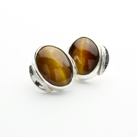 Peace Sterling Silver and Tiger Eye Olive Leaf Stud Earrings