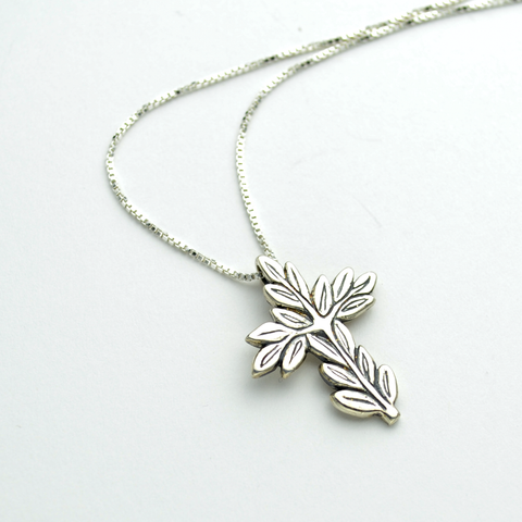 Peace Sterling Silver Olive Branch Cross Necklace