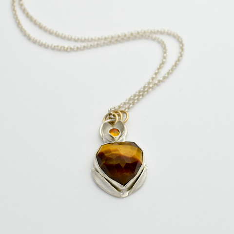 Peace Sterling Silver & Faceted Tiger Eye Heart Olive Blossom Necklace