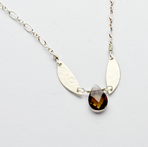 Peace Smoky Topaz & Olive Leaf Necklace