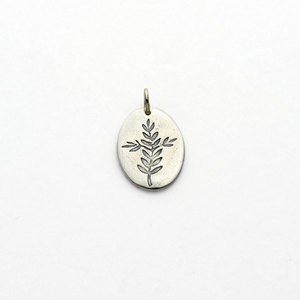 Peace Olive Branch & Cross Silver Charm