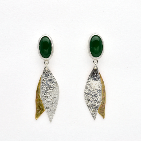 Peace Green Jade and Sterling Silver Olive Leaf Christian Earrings-Tracy Hibsman Studio
