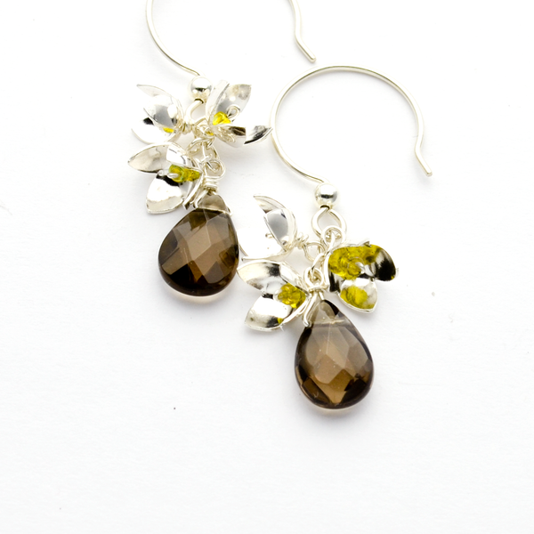 Peace Sterling Silver Olive Blossom Cluster & Smoky Topaz Earrings-Tracy Hibsman Studio