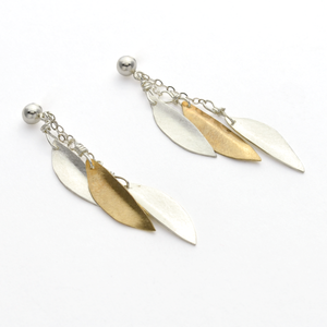 Peace Sterling Silver & Brass Olive Leaf Dangle Christian Earrings