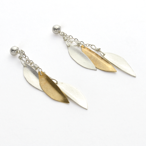 Peace Sterling Silver & Brass Olive Leaf Dangle Christian Earrings-Tracy Hibsman Studio