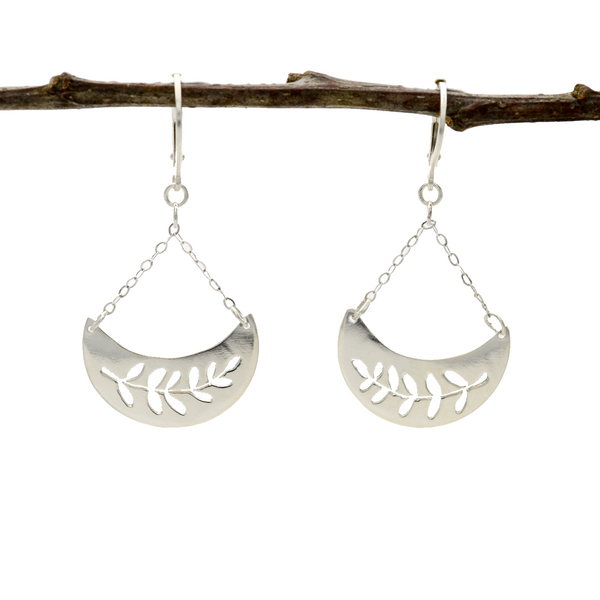 Peace Sterling Silver Pierced Olive Branch Earrings-Tracy Hibsman Studio