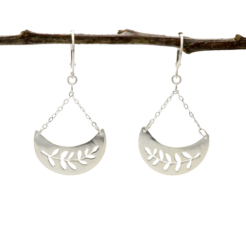 Peace Sterling Silver Pierced Olive Branch Earrings