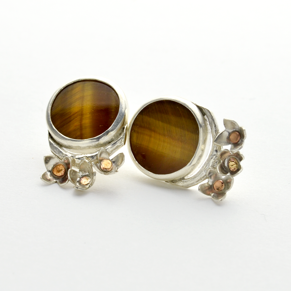 Peace Sterling Silver and Tiger Eye Olive Blossom Stud Earrings-Tracy Hibsman Studio