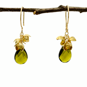 Customized Peace Olive Blossom Cluster & Olive Earrings - John 14:27