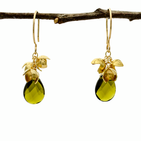 Peace Nu Gold Olive Blossom Cluster & Olive Quartz Earrings