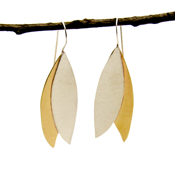 Peace Sterling Silver & Brass Olive Leaf Earrings-Tracy Hibsman Studio