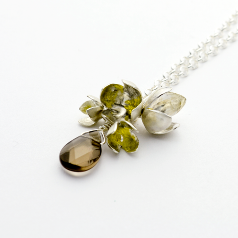 Peace Sterling Silver Olive Blossom & Smoky Topaz Necklace-Tracy Hibsman Studio