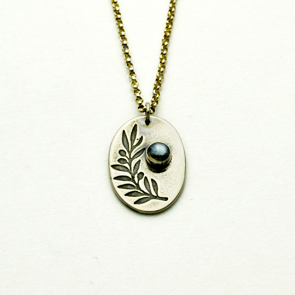 Peace Sterling Silver Olive Branch Necklace with Moonstone