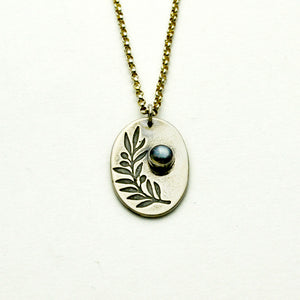 Peace Sterling Silver Olive Branch Necklace with Moonstone-Tracy Hibsman Studio