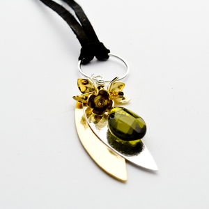 Peace Sterling Silver & Brass Olive Leaf & Olive Blossom Necklace-Tracy Hibsman Studio