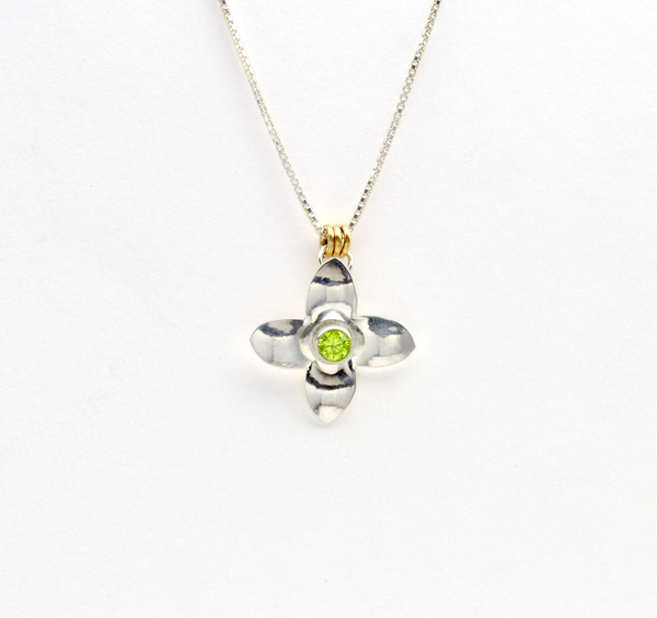 Peace Sterling Silver Olive Blossom & Green CZ Necklace-Tracy Hibsman Studio