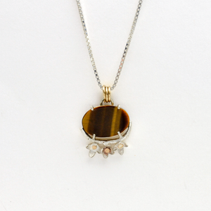 Peace Sterling Silver Olive Blossom & Tiger Eye Christian Necklace-Tracy Hibsman Studio