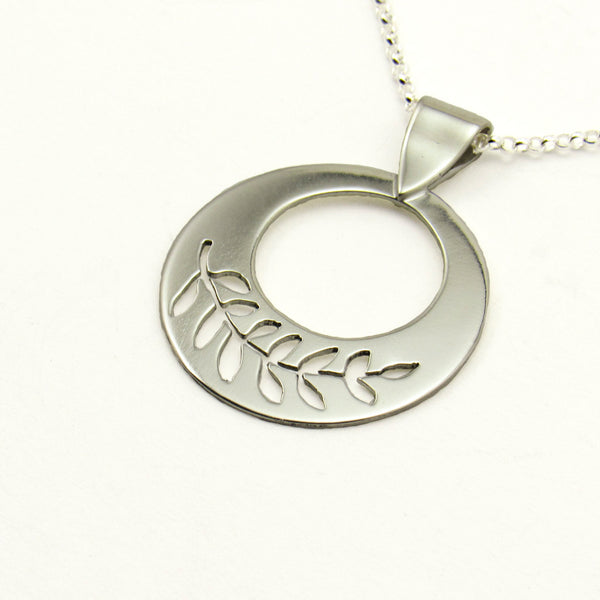 Peace Sterling Silver Pierced Olive Branch Necklace-Tracy Hibsman Studio