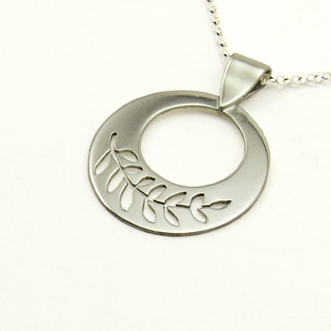 Peace Sterling Silver Pierced Olive Branch Necklace