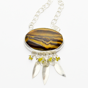 Peace Tiger Eye Olive Blossom Leaf Christian Jewelry Necklace