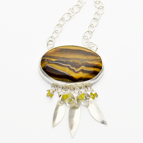 Peace Sterling Silver & Tiger Eye Olive Blossom Christian Necklace-Tracy Hibsman Studio