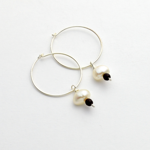 Pearl of Great Price Sterling and Pearl Hoop Earrings