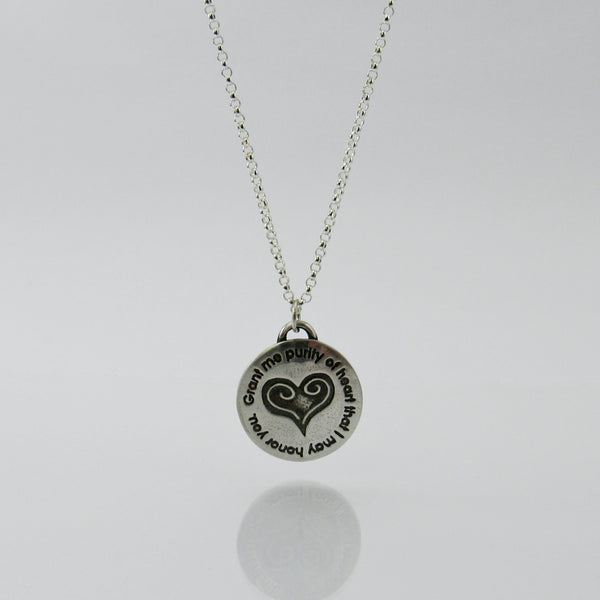 Purity of Heart Necklace in Sterling Silver & Fine Silver-Tracy Hibsman Studio