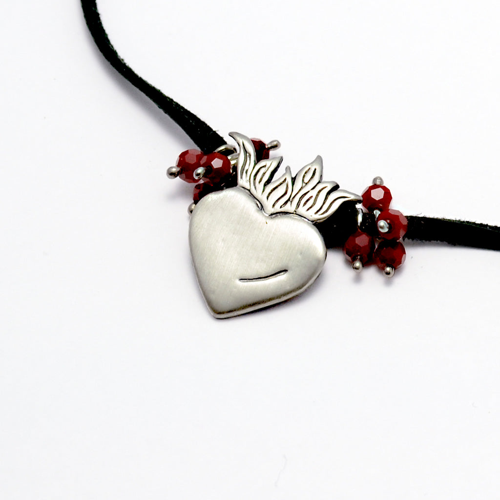Ardor Silver Flaming Heart of Jesus Pendant on Leather Necklace-Tracy Hibsman Studio