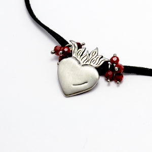 Ardor Necklace in Fine Silver, Red Quartz, Leather