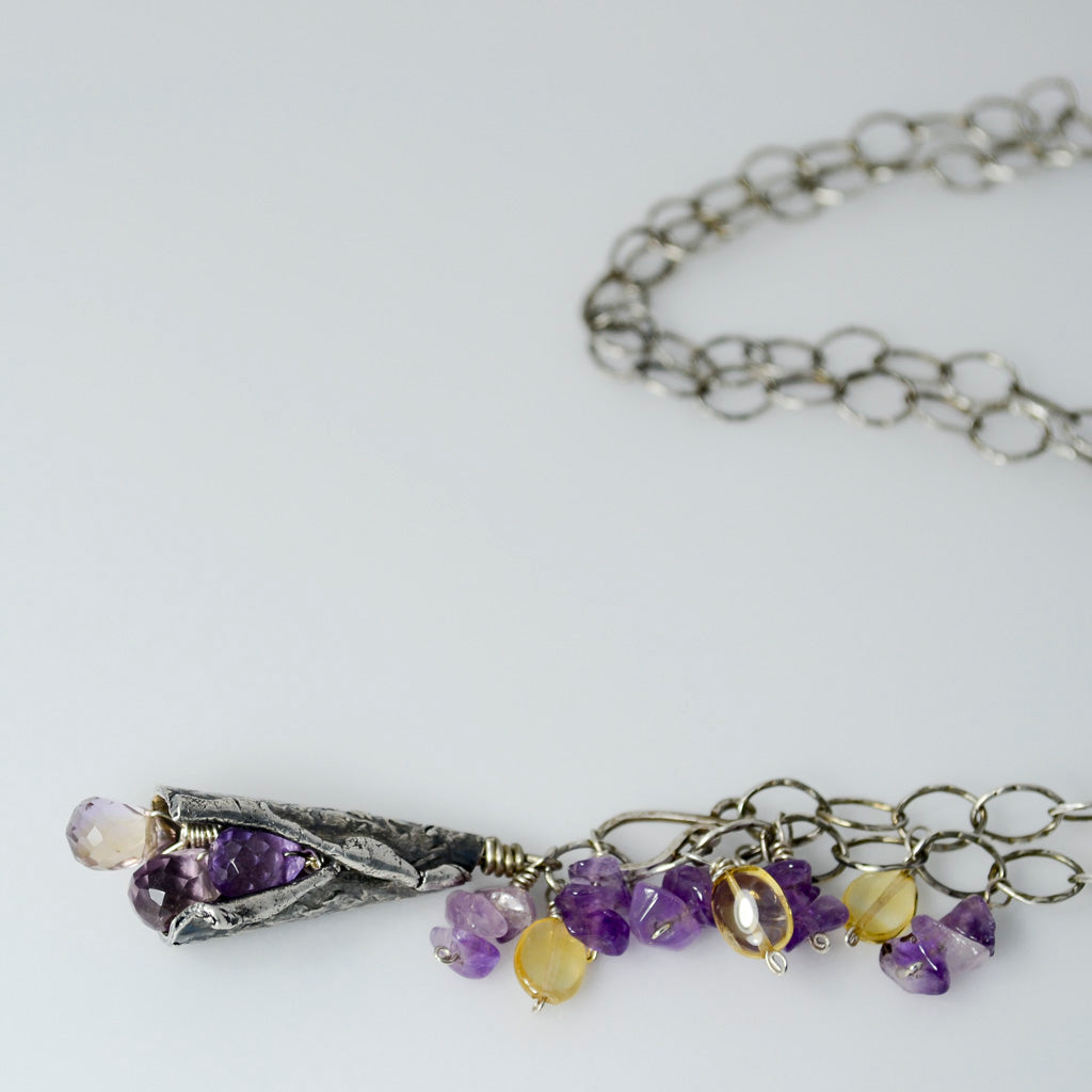 Remnant Necklace in Sterling and Fine Silver with Ametrine, Amethyst, and Citrine