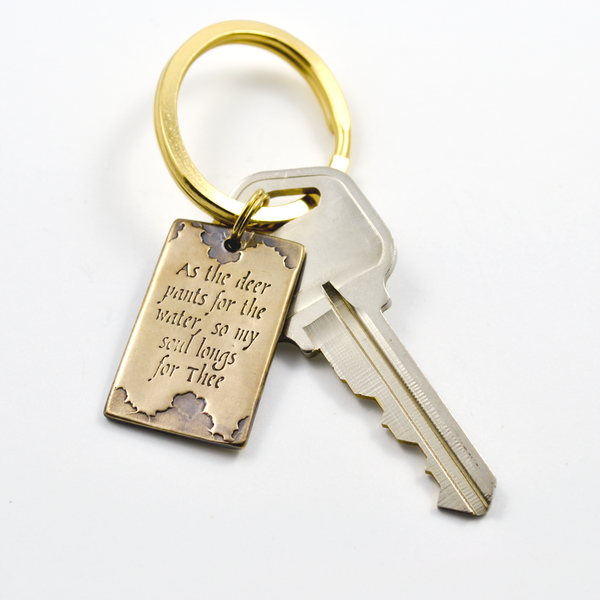 As the Deer Bronze Inscribed Keychain