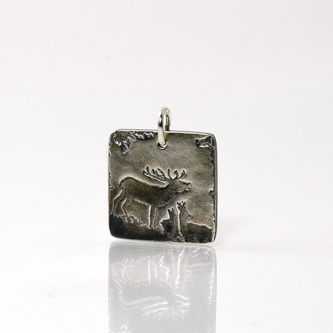 As the Deer Square Silver Charm-Tracy Hibsman Studio