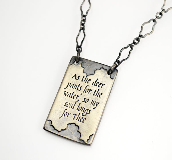 As the Deer Sterling Silver Necklace Inscribed with Psalm 42:1-Tracy Hibsman Studio