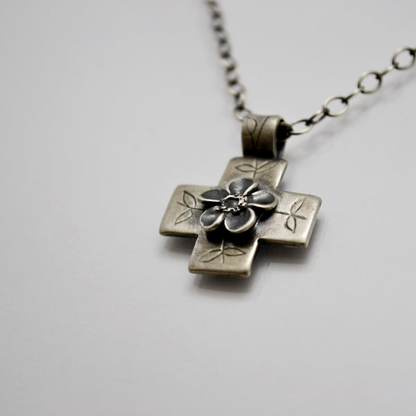 Consumed by Love Small Cross Necklace in Fine Silver and Sterling Silver