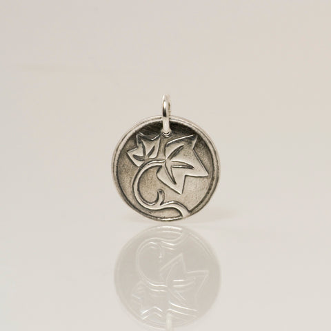 Fine Silver Faithfulness Charm with Ivy Leaves-Tracy Hibsman Studio