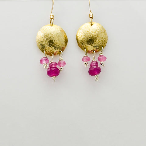 Journey Brass Disc Earrings with Pink Quartz-Tracy Hibsman Studio