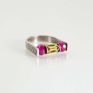 Journey Fine Silver and 22kt Vermeil Ring With Pink Quartz