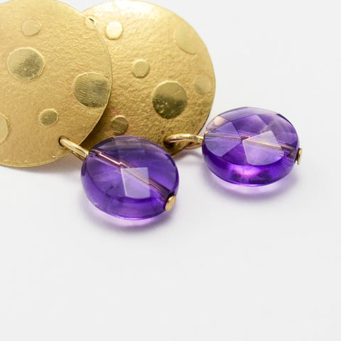 Joy Brass and Amethyst Textured Disc Earrings-Tracy Hibsman Studio