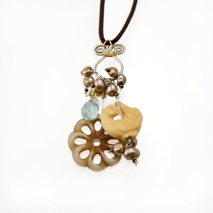 Peace Mixed Media Necklace with Pearls, Carved Bone & Blue Topaz-Tracy Hibsman Studio