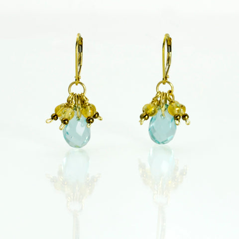 Peace - Earrings in blue topaz, citrine, 14kt gold-filled