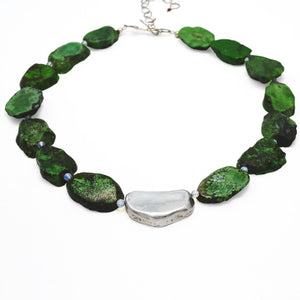 The Rock Green Turquoise & Fine Silver Necklace